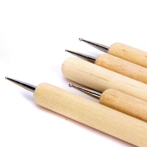 Asint 5 Pcs Double Ended Stainless Steel Ball Stylus Wooden Tool Set For Clay, Pottery, Ceramic-5203