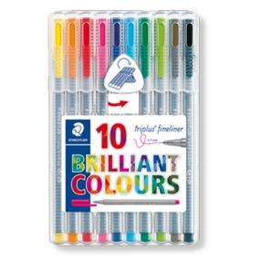 Staedtler 334 Sb10 Triplus Fineliner Tip Pen In Staedtler Box - Pack Of 10 (Multicolor)-0