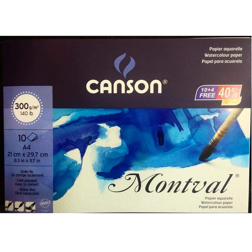 Canson Montval Water Colour Paper 300Gsm Cold Pressed A4 Size 14 Sheets-0