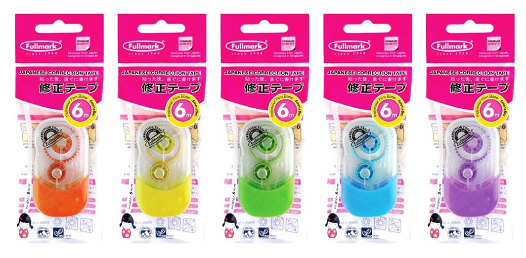 Fullmark Correction Tape Model E, 5mm X 6m Each, 5-Pack ( Assorted Color )-1351