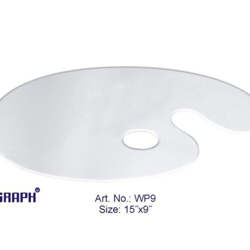 "Asint Wooden Palette Oval White (15"" X 9"") -0"