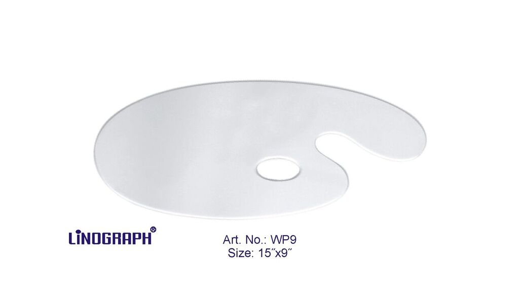 """Asint Wooden Palette Oval White (15"""" X 9"""") -0"""