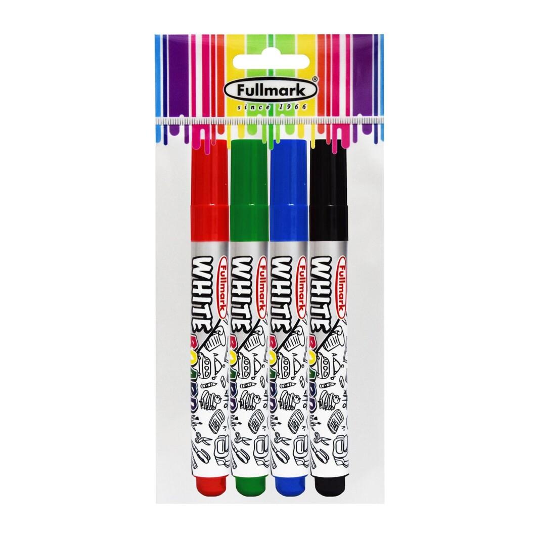 Fullmark Dry Erase Whiteboard Marker, Fine Bullet Point, Assorted, 4- Pack-2599