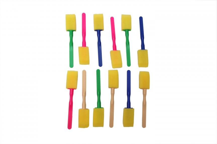 Asint 12 Pcs Foam Sponge Brushes For Painting Graffiti Art Craft With Plastic Handle Paint Brush Set -0