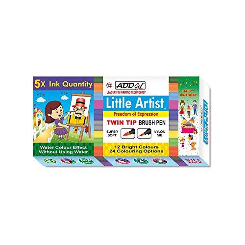 ADD Gel Little Artist - Twin Tip Brush Pen Pack of 12-3597