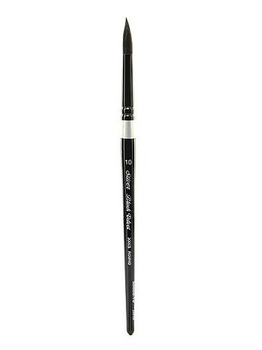 Silver Brush 3000S-10 Black Velvet Short Handle Blend Brush, Round, Size 10-4296