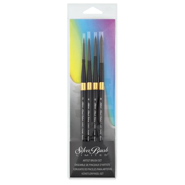 Silver Brush Black Velvet Voyage Travel Brushes set 4 Size : 2,4,6,8-4289