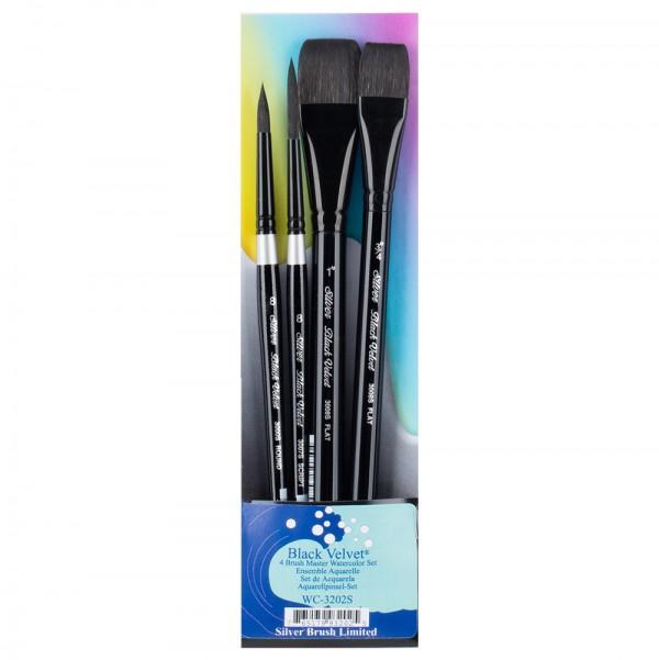 SILVER BRUSH Black Velvet Watercolor Basic Set 4Pcs (WC-3202S)-4287