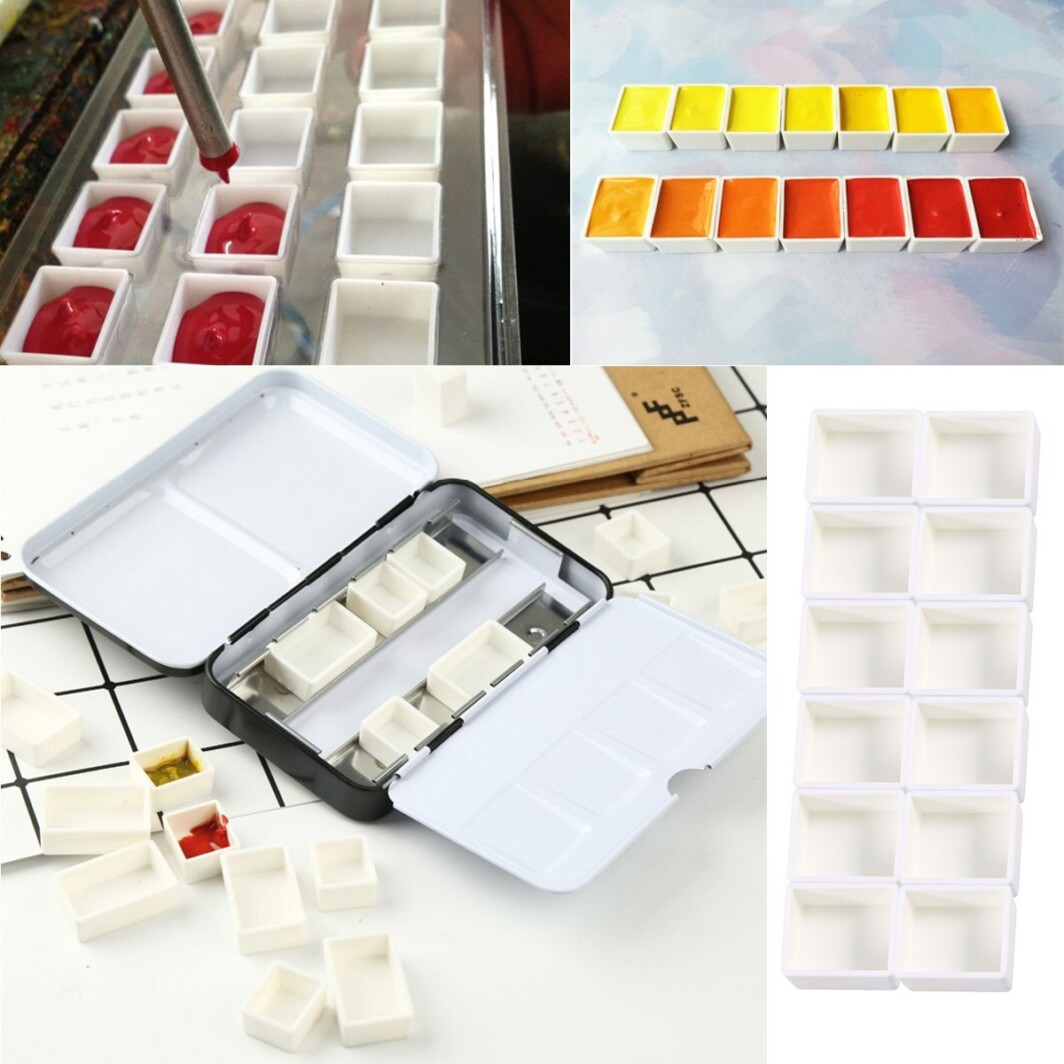 Asint Watercolor Paint Small Size Pan Empty Watercolor Half Pans 12 PCS for Painting -4601