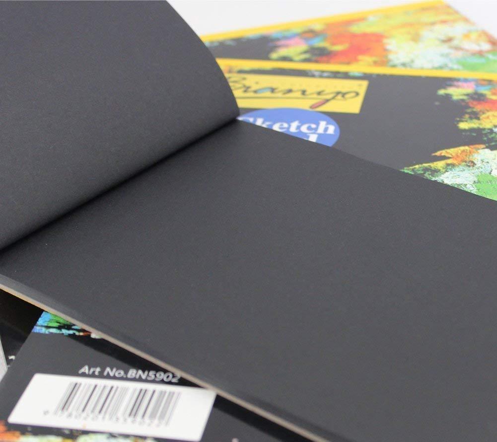 Bianyo Hardback A4, 140 gsm, Black Paper Artist's Sketch Drawing Pad, 297 x 210 mm – 25 Sheets-4845