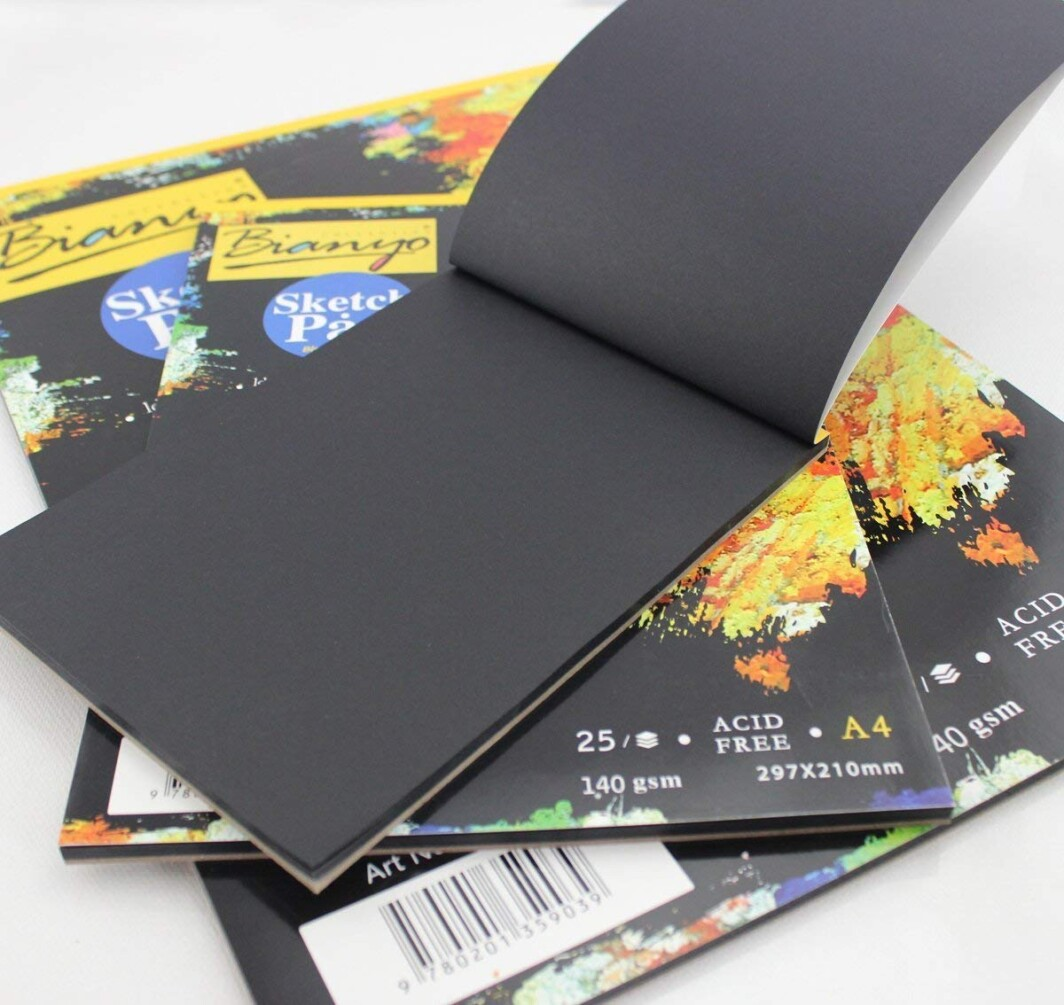 Bianyo Hardback A4, 140 gsm, Black Paper Artist's Sketch Drawing Pad, 297 x 210 mm – 25 Sheets-4847