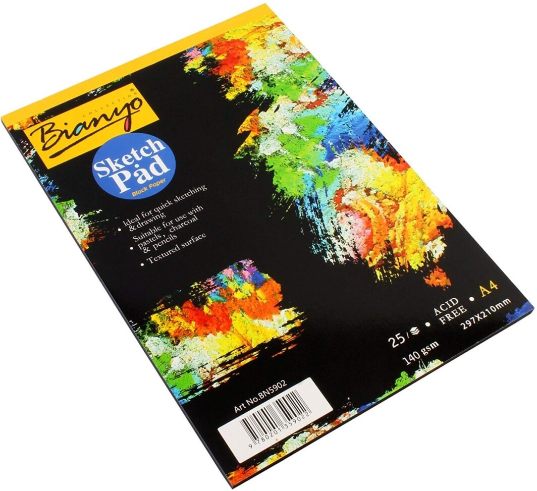 Bianyo Hardback A4, 140 gsm, Black Paper Artist's Sketch Drawing Pad, 297 x 210 mm – 25 Sheets-0