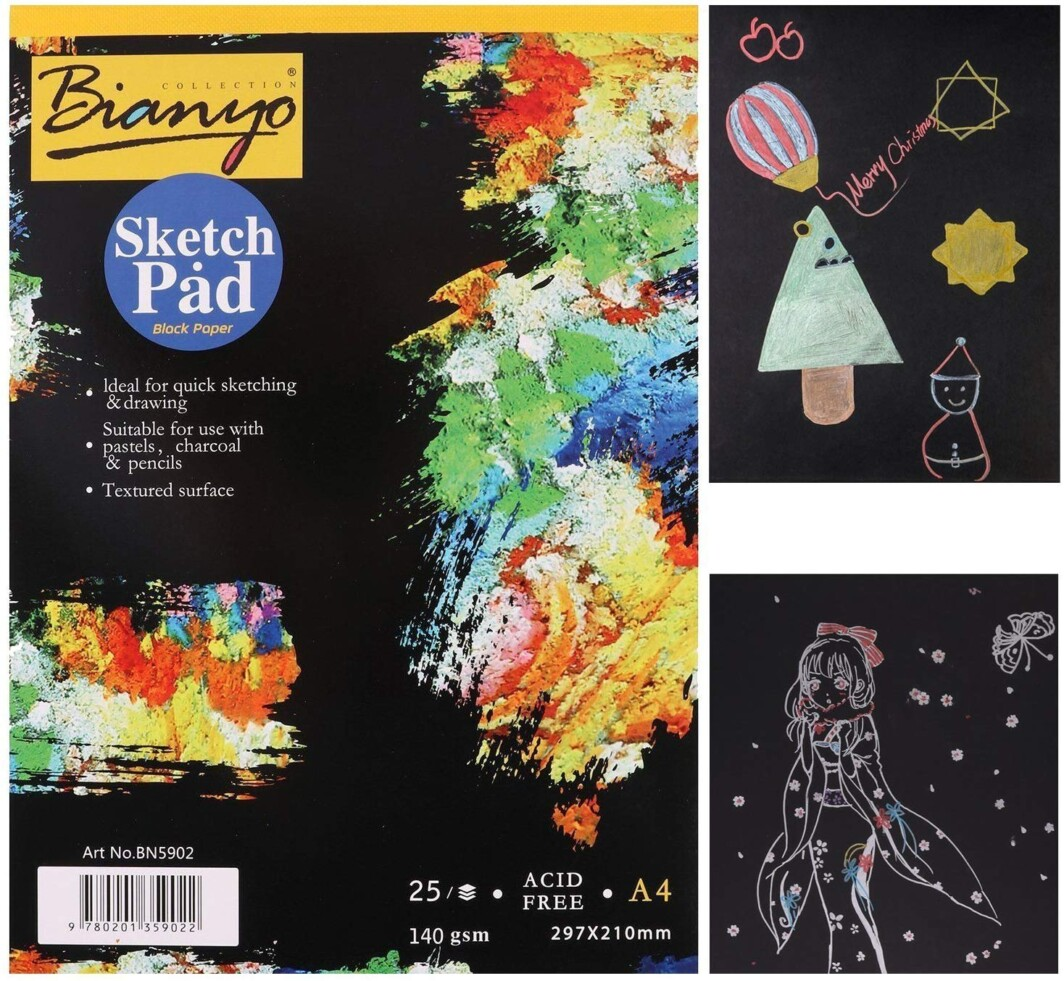 Bianyo Hardback A4, 140 gsm, Black Paper Artist's Sketch Drawing Pad, 297 x 210 mm – 25 Sheets-4844