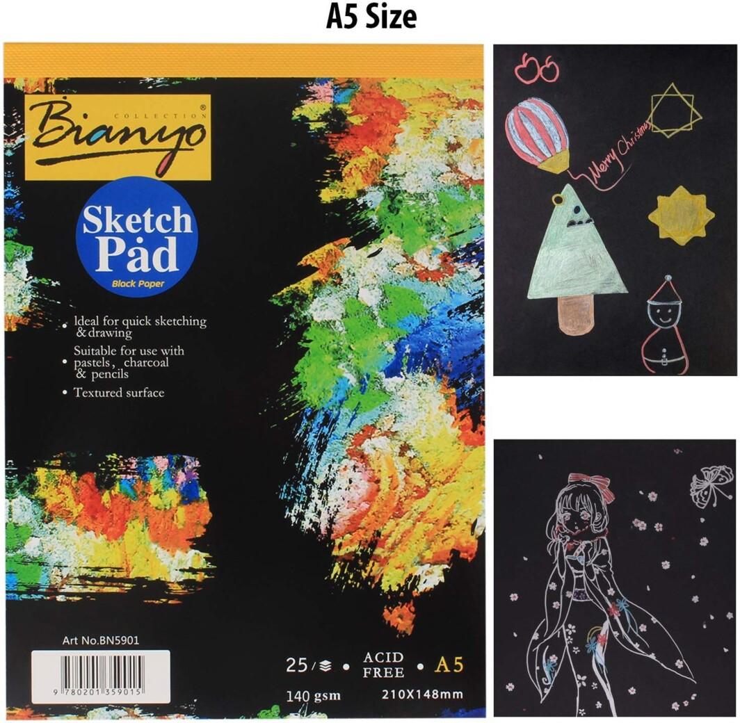 Bianyo Hardback A5 140 gsm 25 Sheets Black Paper Artist's Sketch Drawing Pad, 210mm x 148mm-0