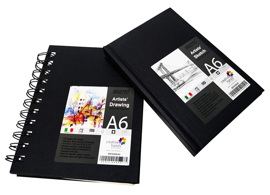Brustro Wiro Bound Artists Sketch Book, A6 Size, 116 Pages, 160 GSM Portrait-0