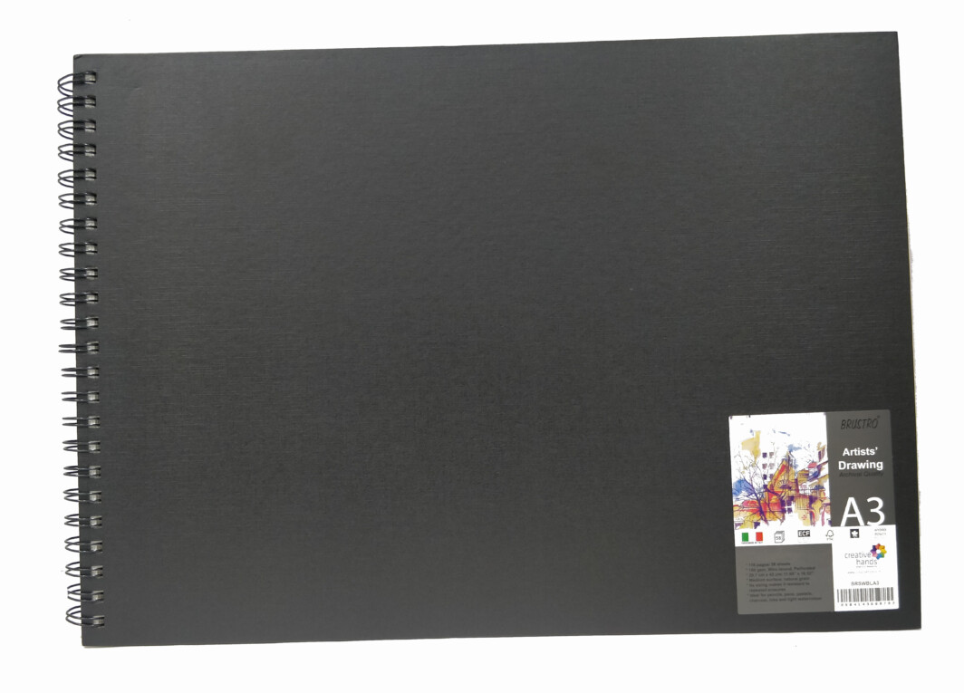 Brustro Artists' Sketch Book Wiro Bound A3 Landscape (160 GSM, 116 Pages Acid Free)-4763