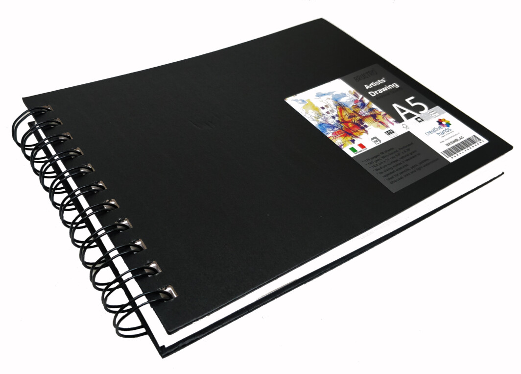 Brustro Artists' Sketch Book Wiro Bound A5 Landscape (160 GSM, 116 Pages Acid Free)-0