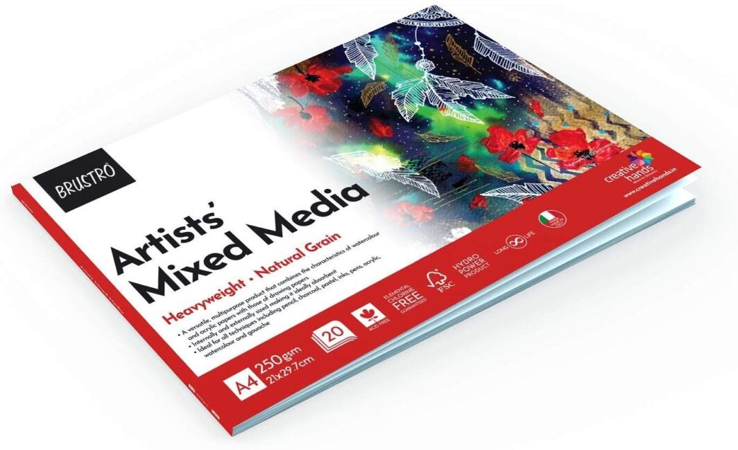 BRUSTRO Artists' Mixed Media Glued Pad 250 GSM A4-20 Sheets-4928