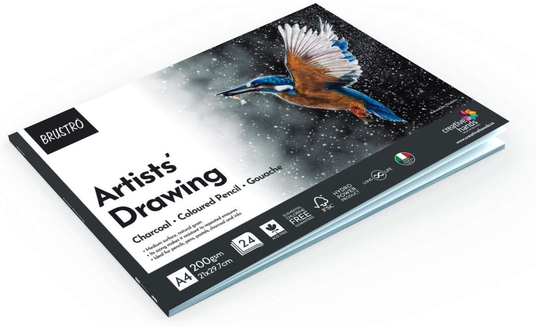 BRUSTRO Artist Drawing Glued Pad, 200 GSM, A4-24 Sheets-4931
