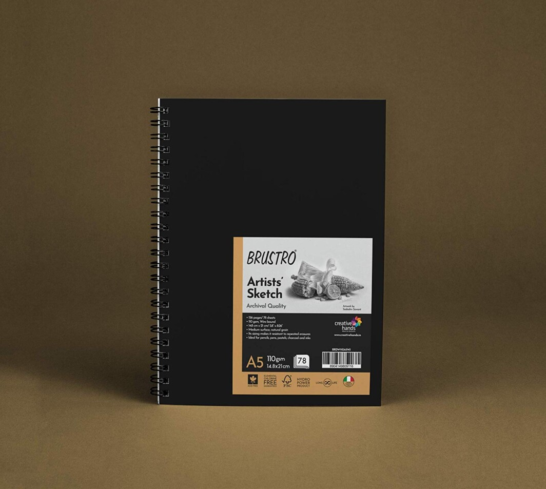 Brustro Artist Sketch Book 110 GSM A5 Wiro Journal (Pack of 78 Pages)-0