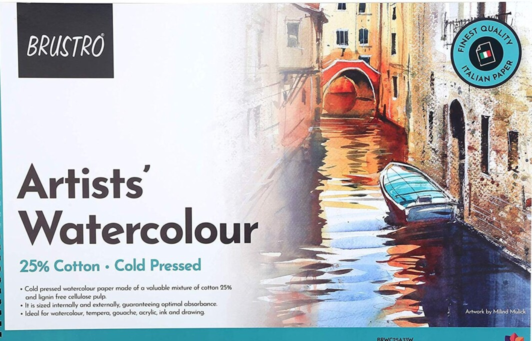 BRUSTRO Artist 25% Cotton Watercolour Pad, Cold Pressed, 300 GSM A4-12 Sheets-0