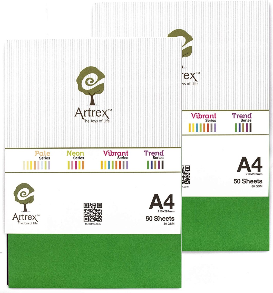 Artrex A4 Mixed Color Paper Trend 80 GSM 10 colour (Pack of 100 Sheets)-4963