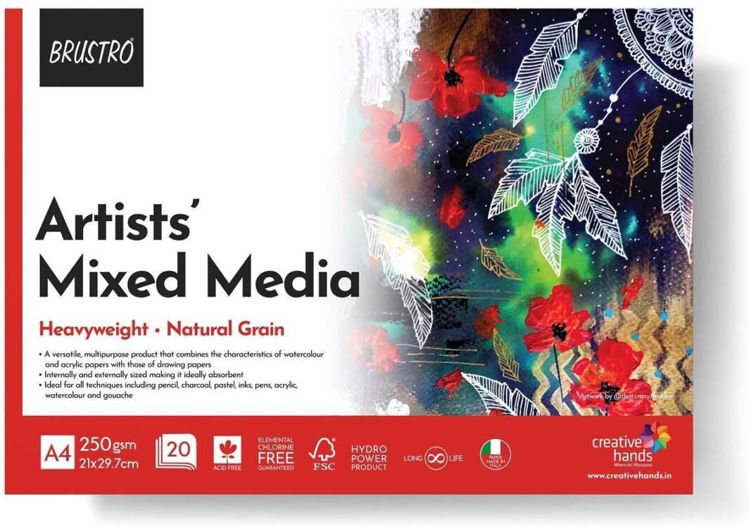 BRUSTRO Artists' Mixed Media Glued Pad 250 GSM A4-20 Sheets-0