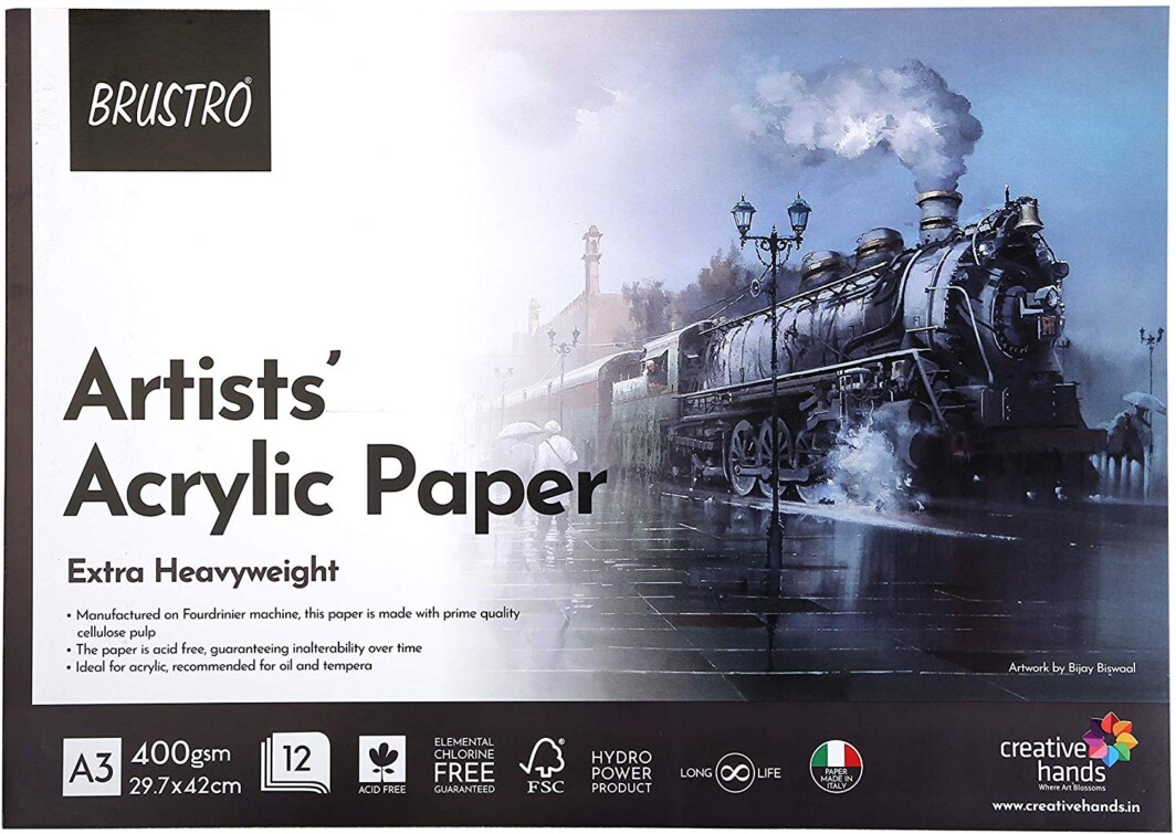 BRUSTRO Artists' Acrylic Glued Pad 400 GSM A3-12 Sheets-0