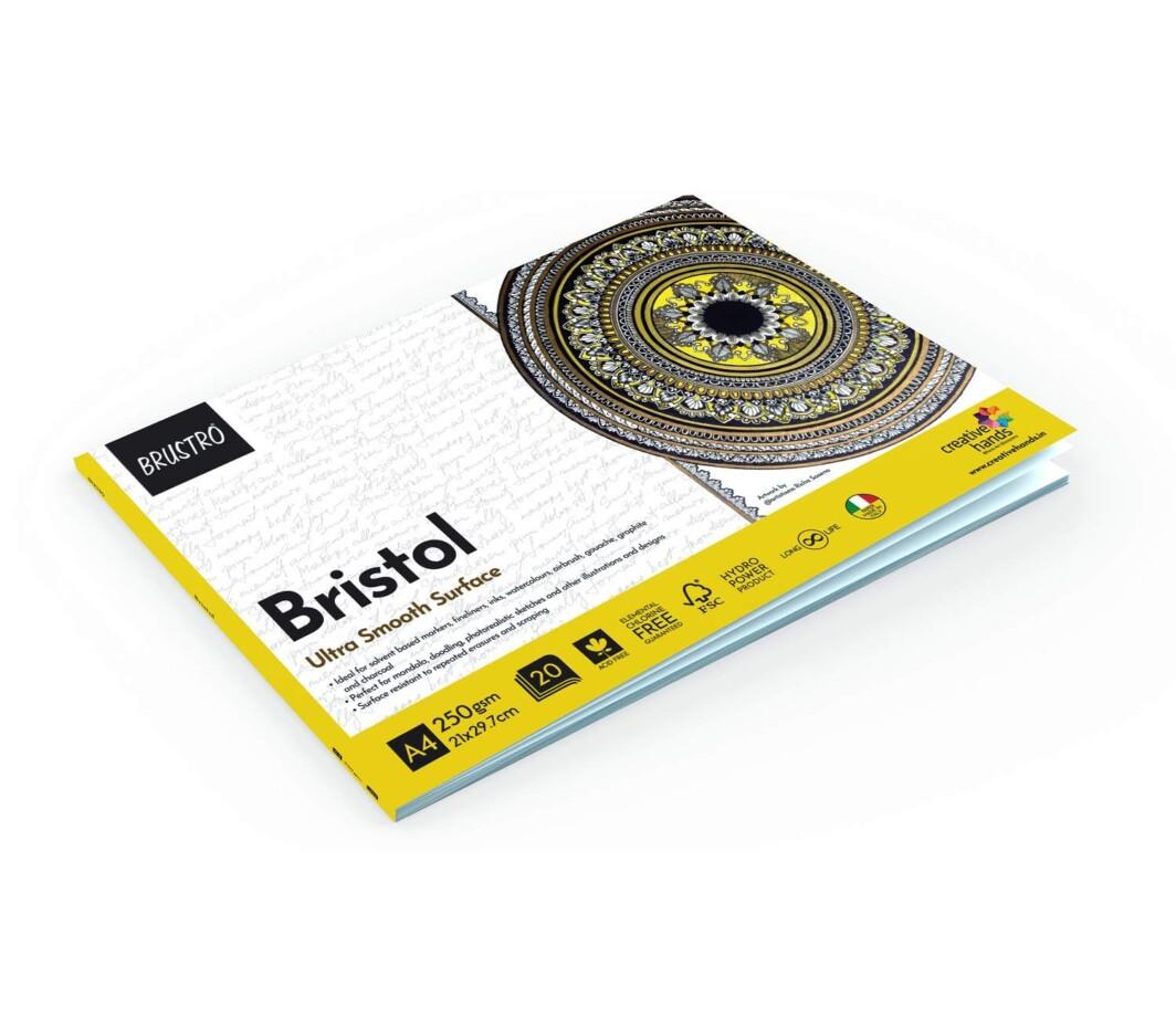 Brustro Bristol Ultra Smooth Glued Pad 250 GSM A4-20 Sheets-5311