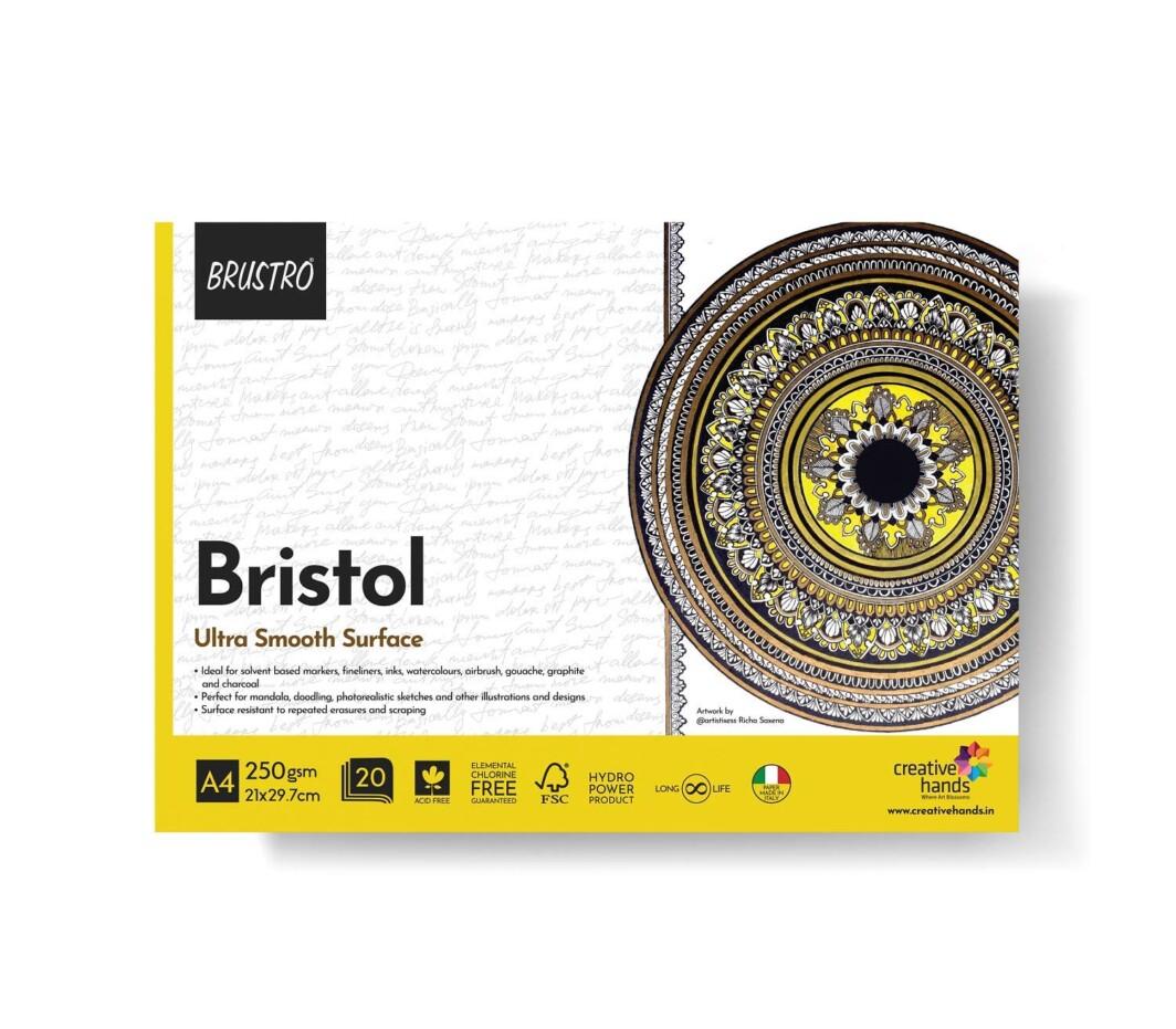 Brustro Bristol Ultra Smooth Glued Pad 250 GSM A4-20 Sheets-0