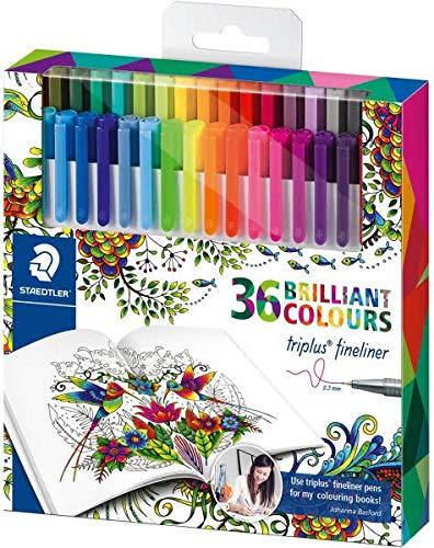 Staedtler Johanna Basford Triplus Fineliner Pens - Pack of 36 (Clear)-0