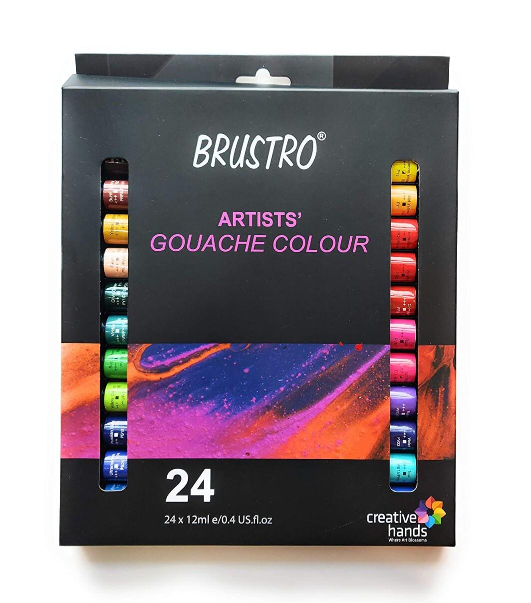 BRUSTRO Artists' Gouache Colour Set of 24 Colours X 12ML Tubes-0