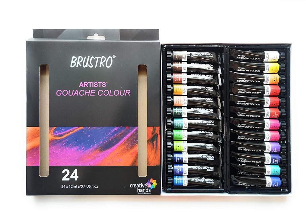 BRUSTRO Artists' Gouache Colour Set of 24 Colours X 12ML Tubes-6552