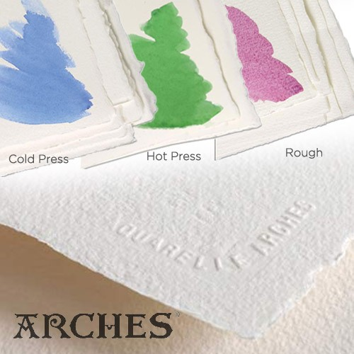 Arches Watercolour Paper Cold Pressed 300 GSM ( Pack Of 10 ) Natural White Assorted Size (Open Stock)-0