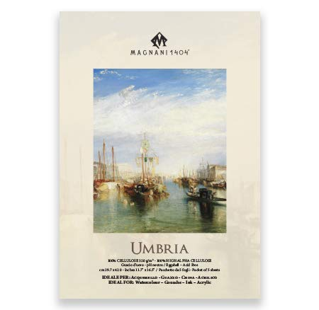 Magnani 1404 Umbria Watercolor Paper 320 GSM A3 100% Cellulose l Cold Pressed l Contains 5 + 2 Sheets Free (Pack of 2)-0