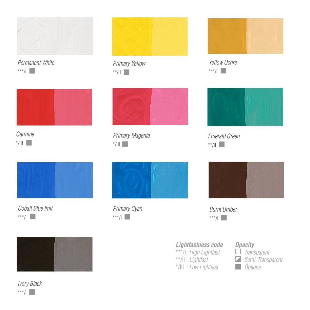 Pebeo Studio Gouache Super Maquette Assorted Set of 10 colours - 20 ml tubes-7093