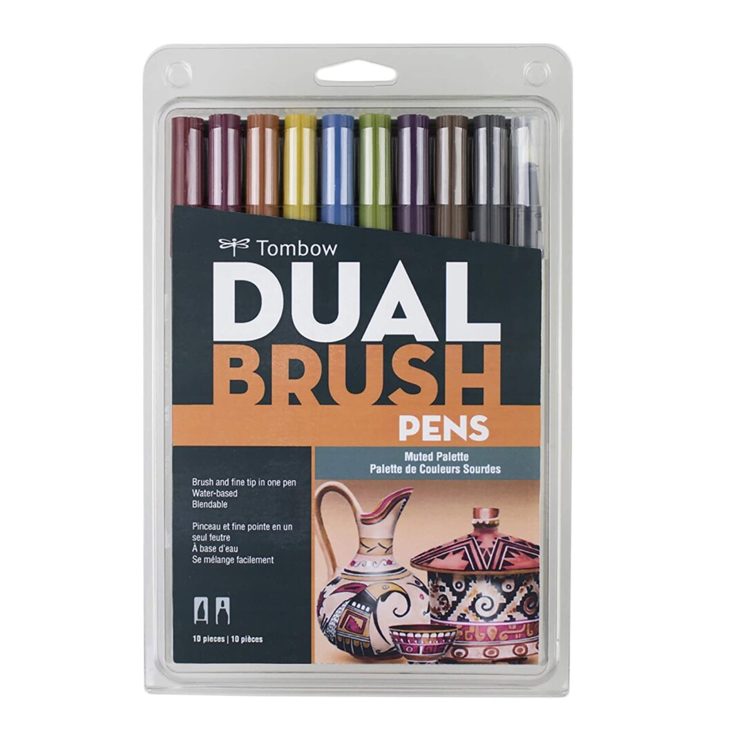 Tombow 56186 Dual Brush Pen Art Markers, Muted, 10-Pack. Blendable, Brush and Fine Tip Markers-0