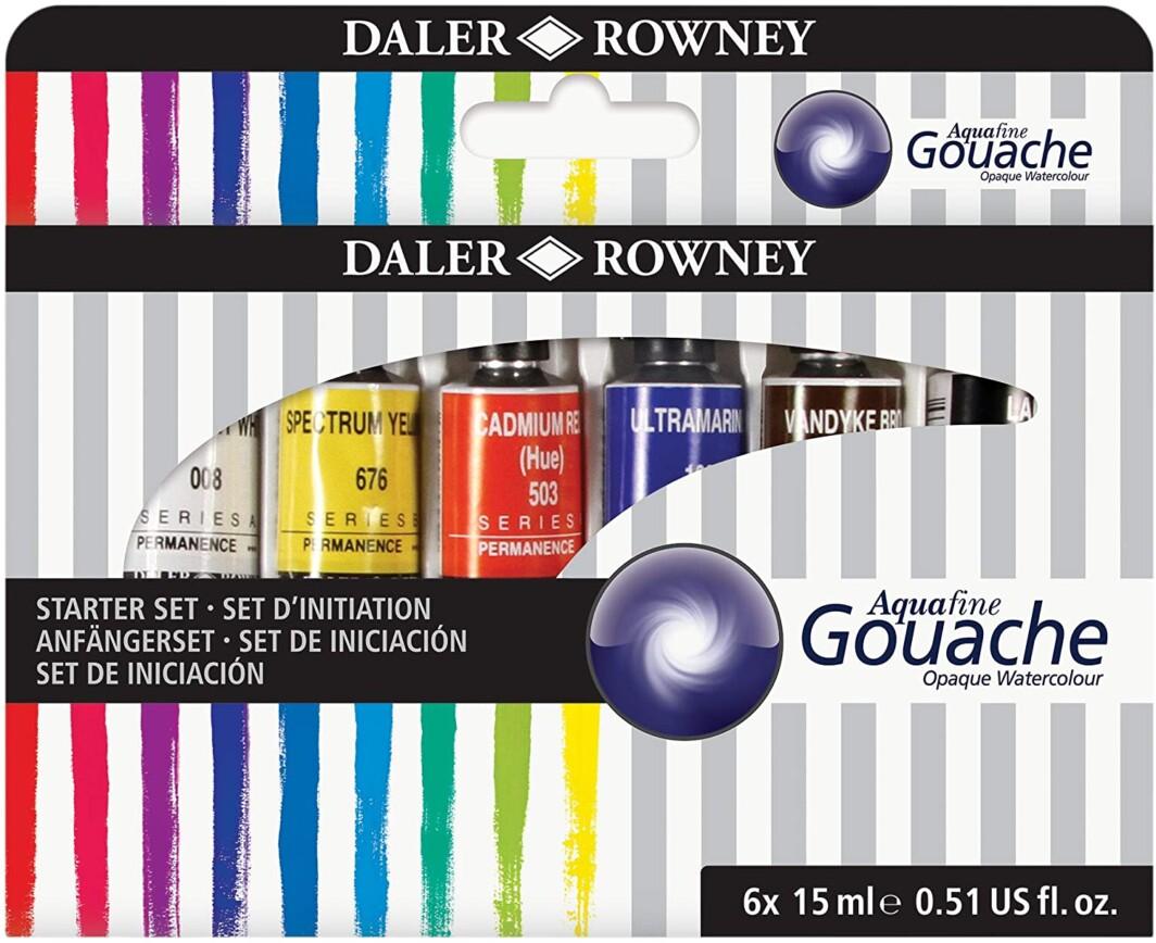 Daler Rowney Aquafine Gouache Watercolour Set 6 x 15 ml-0