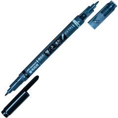 Tombow Fudenosuke Brush Pen GCD-121, Twin Tip, Fine, Black and Grey Ink-0